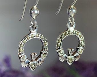Claddagh Earrings, Celtic Jewelry, Irish Jewelry, Friendship Gift, Mom Gift, Heart Jewelry, Bridal Jewelry, Wife Gift, Girlfriend Gift