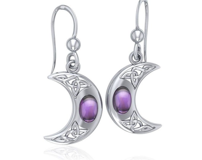 Moon Earrings, Celtic Jewelry, Wiccan Jewelry, Gemstone Jewelry, Crescent Moon, Moon Goddess, Anniversary Gift, Celestial Jewelry, Wife Gift