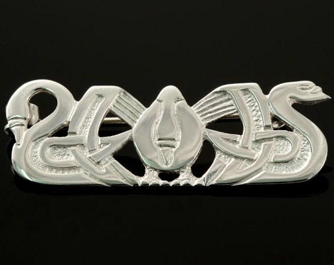 Three Nornes Brooch, Celtic Brooch, Swan Pin, Scotland Jewelry, Nature Jewelry, Swan Jewelry, Wiccan Jewelry, Pagan Jewelry