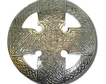 Celtic Cross Brooch, Celtic Jewelry, Irish Jewelry, Ireland Pin, Girlfriend Gift, Sister Gift, Plaid Pin, Wiccan Jewelry, Kilt Pin