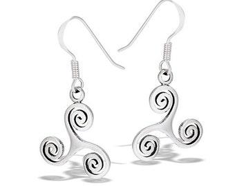 Celtic Spiral Earrings, Triskelion, Triskele, Celtic Jewelry, Irish Jewelry, Wiccan Jewelry, Gift for Her, Celtic Earrings, Triple Spiral