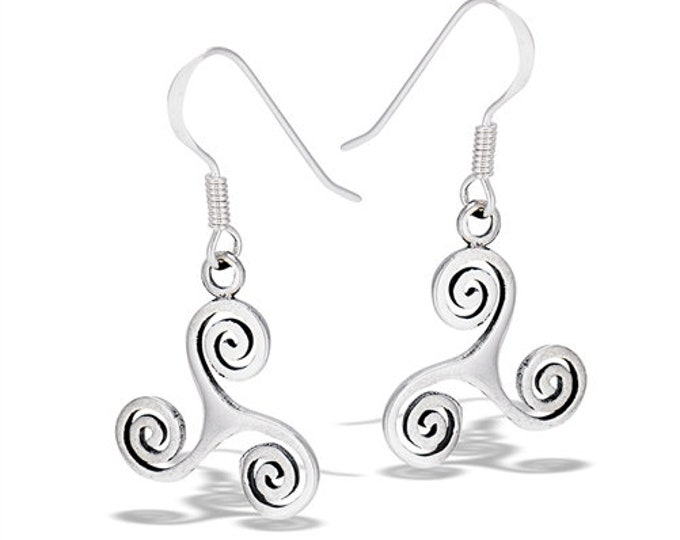 Celtic Spiral Earrings, Triskelion, Triskele, Celtic Jewelry, Irish Jewelry, Wiccan Jewelry, Gift for Her, Celtic Earrings, Triple Spiral