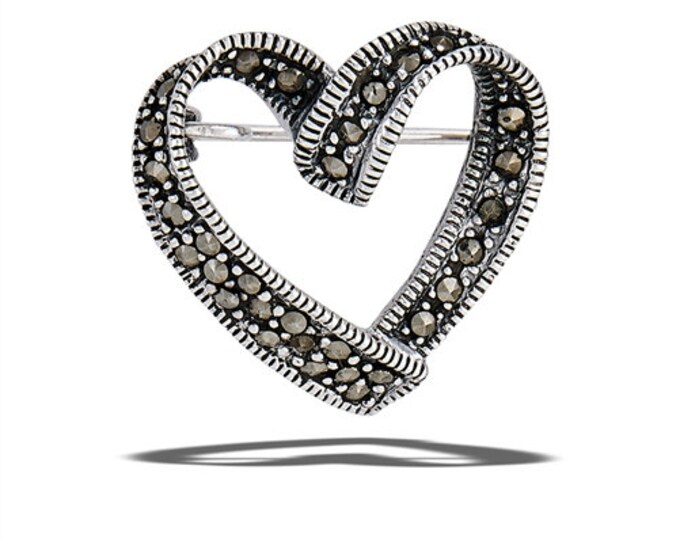 Love Knot Brooch, Heart Pin, Anniversary Gift, Birthday for Her, Mom Gift, Sister Gift, Best Friend Gift, Girlfriend Gift, Marcasite Jewelry