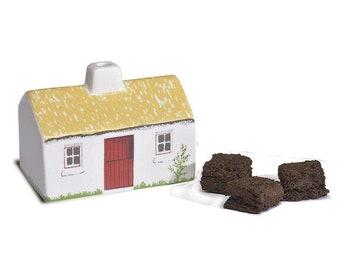 Irish Cottage Incense Burner, Irish Gift, Irish Turf, Peat Burner, Turf Burner, Ireland Turf, Retirement Gift, New Home Gift, Celtic Gift