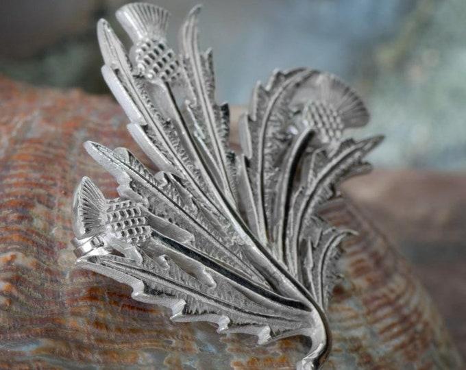 Thistle Spray Brooch, Scotland Jewelry, Outlander Jewelry, Thistle Jewelry, Wiccan Jewelry, Flower Pin, Celtic Brooch, Anniversary Gift