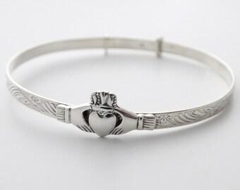Claddagh Bracelet, Celtic Jewelry, Irish Jewelry, Ireland Gift, Bridal Jewelry, Heart Jewelry, Girlfriend Gift, Wife Gift, Anniversary Gift
