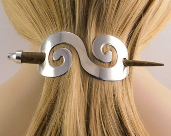 Celtic Hair Slide, Celtic Hair Barrette, Bun Holder, Wedding Accessory, Pewter Hair Clip, Celtic Spiral Hair Clip, Wiccan Hair Clip