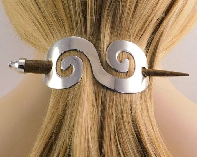 Celtic Pewter Hair Slide, Celtic Hair Barrette, Ben Holder, Wedding Accessory, Girlfriend, Sister, Celtic Spiral Hair Clip, Wiccan Hair Clip