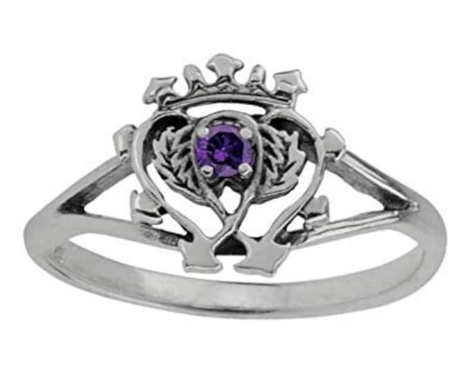 Luckenbooth Ring, Outlander Jewelry, Scotland Jewelry, Bridal Jewelry, Amethyst Ring, Heart Ring, Bride Gift, Wife Gift, Mom Gift