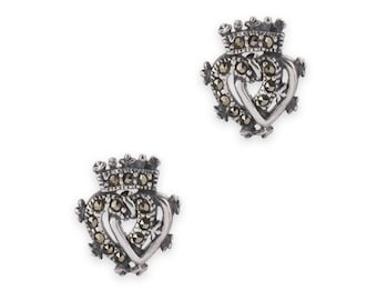 Luckenbooth Earrings, Scotland Jewelry, Celtic Jewelry, Marcasite Jewelry, Heart Jewelry, Anniversary Gift, Bridal Jewelry, Heart Earrings