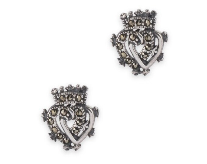 Luckenbooth Earrings, Scotland Jewelry, Celtic Jewelry, Marcasite Jewelry, Heart Jewelry, Anniversary Gift, Bridal Jewelry, Heart Earrings