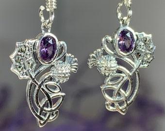 Thistle Earrings, Trinity Knot Jewelry, Celtic Jewelry, Outlander Jewelry, Marcasite Jewelry, Mom Gift, Amethyst Jewelry, Pagan Jewelry