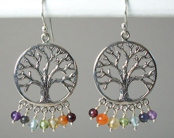 Tree of Life Earrings, Celtic Jewelry, Rainbow Jewelry, Wiccan Jewelry, Peridot Jewelry, Irish Jewelry, Scotland Jewelry, Gift for Her