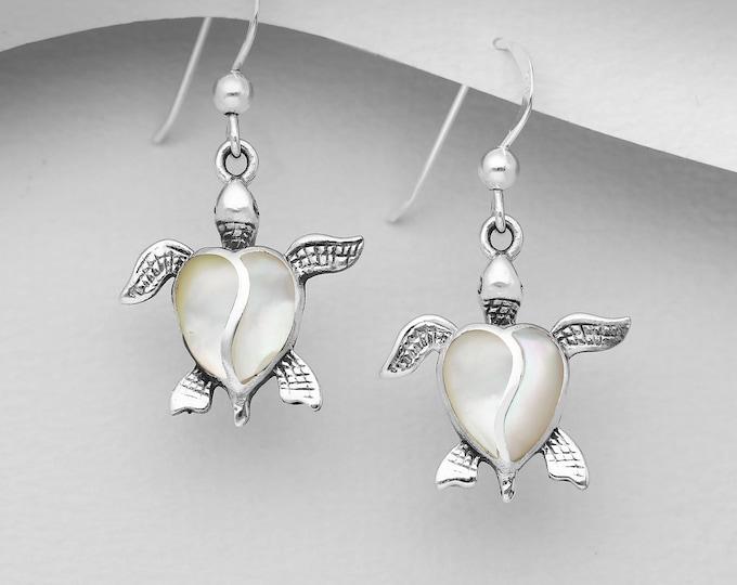 Turtle Earrings, Celtic Jewelry, Animal Jewelry, Beach Jewelry, Gift for Her, Nature Jewelry, Anniversary Gift, Graduation Gift, Nautical