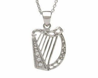 Irish Harp Necklace, Celtic Jewelry, Irish Jewelry, Mom Gift, Ireland Jewelry, Sister Gift, Best Friend Gift, Irish Dance Gift