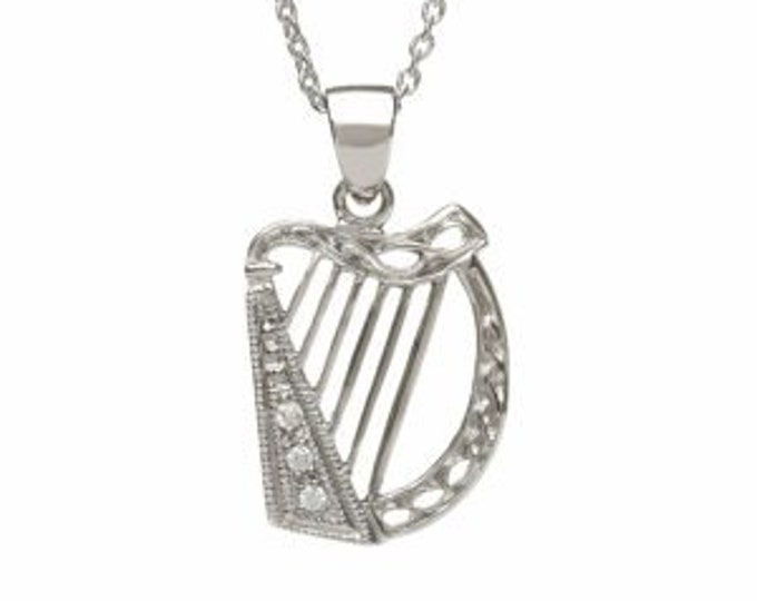 Irish Harp Necklace, Celtic Jewelry, Valentine's Day, St. Patrick's Day, Mother's Day, Gift for Her, Sister, Best Friend, Feis, Irish