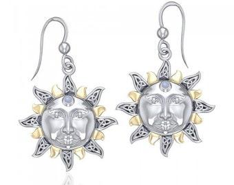 Triskele Sun and Moonstone Celtic Earrings
