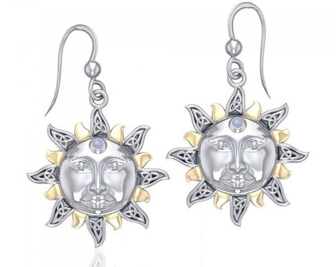 Sun Earrings, Celtic Jewelry, Moonstone Jewelry, Celestial Jewelry, Wiccan Jewelry, Mom Gift, Sun Jewelry, Pagan Jewelry, Sister Gift