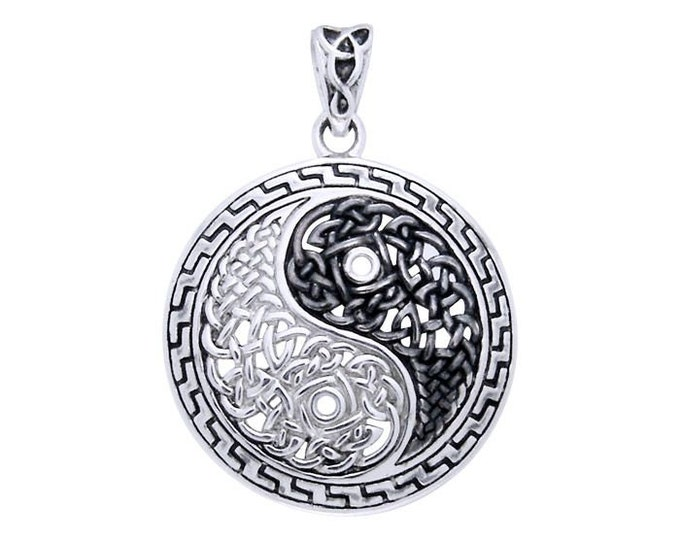 Yin Yang Necklace, Celtic Jewelry, Wiccan Jewelry, Celtic Knot Pendant, Yin Yang Pendant, Pagan Jewelry, Chinese Symbol Jewelry