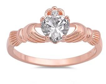 Claddagh Ring, Celtic Jewelry, Irish Jewelry, Heart Jewelry, Irish Ring, Rose Gold Jewelry, Anniversary Gift, Bridal Jewelry