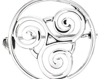 Celtic Spiral Brooch, Ireland Jewelry, Triskele Jewelry, Irish Pin, Scarf Pin, Mom Gift, Anniversary Gift, Wiccan Jewelry, Pagan Jewelry