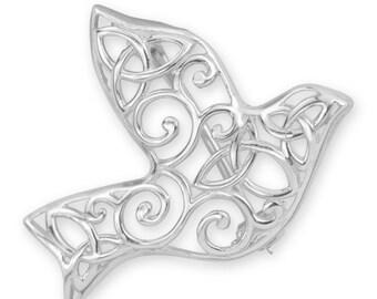 Dove Trinity Knot Brooch, Celtic Jewelry, Scotland Jewelry, Scarf Pin, Mom Gift, Anniversary Gift, Religious Jewelry, Nature Pin, Bird Pin
