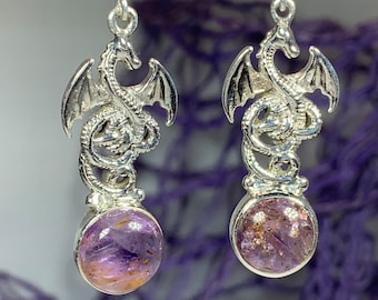 Dragon Earrings, Celtic Jewelry, Irish Jewelry, Super Seven Jewelry, Wiccan Jewelry, Celtic Dragon Gift, Pagan Jewelry, Gothic Jewerly