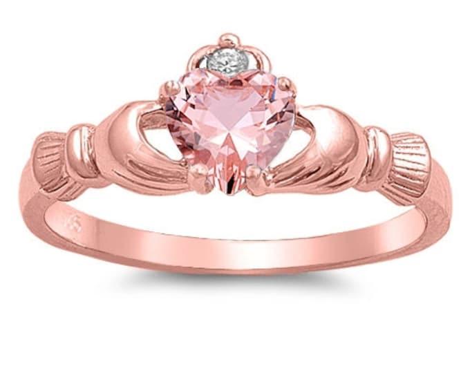 Claddagh Ring, Celtic Jewelry, Ireland Jewelry, Heart Jewelry, Irish Gift, Rose Gold Jewelry, Anniversary Gift, Bridal Jewelry