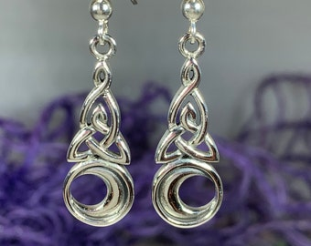 Sickle moon earrings with celtic triskele and faceted glass bead