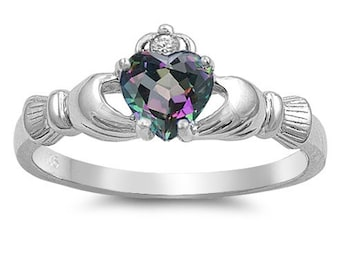 Claddagh Ring, Celtic Jewelry, Ireland Jewelry, Mystic Topaz Jewelry, Irish Gift, Heart Jewelry, Anniversary Gift, Bridal Jewelry