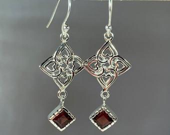 Love Knot Earrings, Celtic Jewelry, Irish Jewelry, Celtic Knot Jewelry, Bridal Jewelry, Gemstone Jewelry, Scotland Jewelry, Mom Gift