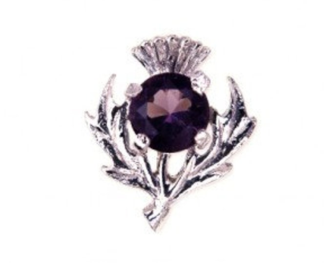 Thistle Celtic Brooch, Amethyst, Pewter Pin, Scottish Flower, Outlander Inspired, Valentine's Day, Easter Gift, Mother, Sister
