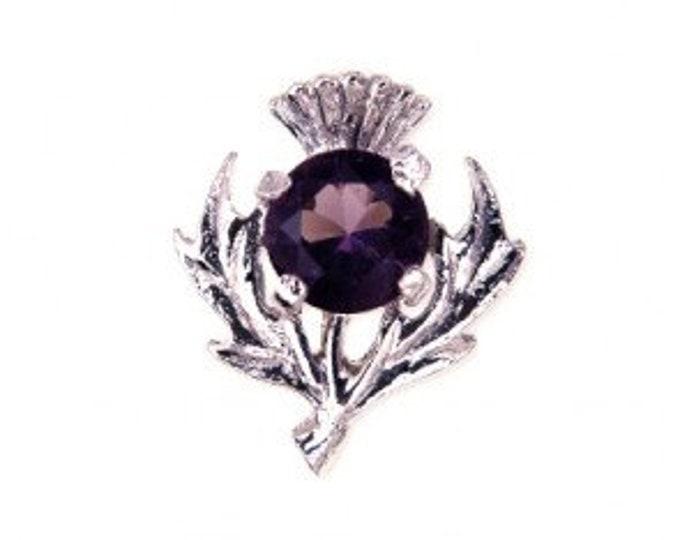 Thistle Celtic Brooch, Amethyst, Pewter Pin, Scottish Flower, Outlander Inspired, Valentine's Day, Easter Gift, Mother, Sister
