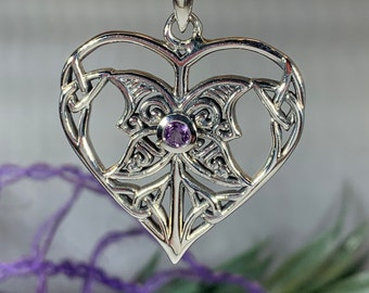 Heart Necklace, Celtic Knot Jewelry, Irish Jewelry, Celtic Jewelry, Scotland Jewelry, Bridal Jewelry, Trinity Knot Jewelry, Anniversary Gift