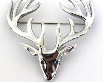 Stag Brooch, Scotland Jewelry, Stag Pin, Kilt Pin, Celtic Pin, Animal Jewelry, Scottish Brooch, Scotland Pin, Nature Jewelry, Tartan Pin