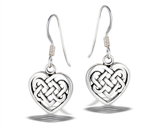 Celtic Heart Earrings, Mom Gift, Anniversary Gift, Celtic Jewelry, Bridal Jewelry, Gift for Her, Sweet 16 Gift, Love Knot Jewelry