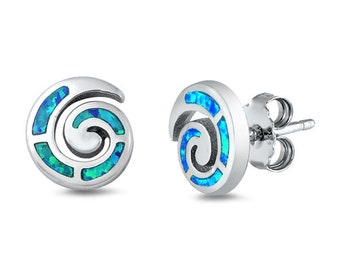 Celtic Spiral Stud Earrings, Irish Jewelry, Celtic Jewelry, Anniversary Gift, Opal Jewelry, Stud Earrings, Mom Gift, Sister Gift, Wife Gift