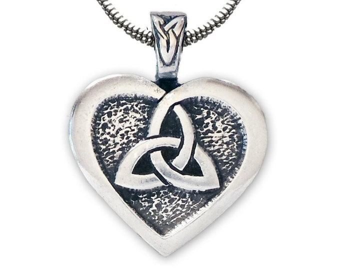Trinity Knot Heart Necklace, Celtic Necklace, Heart Pendant, Daughter, Gift for Her, Wife, Sister, Mother, Easter, Anniversary, Graduation