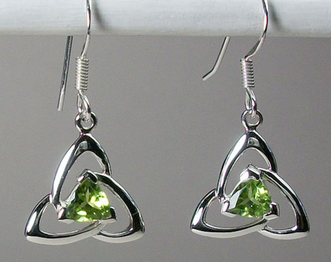Trinity Knot Earrings, Celtic Jewelry, Irish Jewelry, Celtic Knot Jewelry, Bridal Jewelry, Peridot Jewelry, Scotland Jewelry, Mom Gift