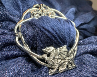 Welsh Dragon Scarf Ring, Dragon Jewelry, Celtic Jewelry, Nature Jewelry, Wales Gift, Mom Gift, Wife Gift, Sister Gift, Friendship Gift