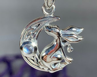 Moon Necklace, Rabbit Necklace, Celestial Jewelry, Mystical Jewelry, Moonstone Jewelry, Celtic Pendant, Crescent Moon Pendant, Irish Gift