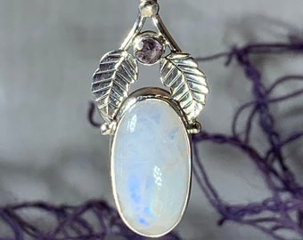 Moonstone Necklace, Gemstone Pendant, Nature Jewelry, Celtic Jewelry, Anniversary Gift, Wiccan Jewelry, Pagan Necklace, Girlfriend Gift