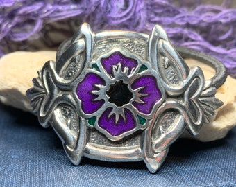 Celtic Pansy Ponytail Holder, Celtic Jewelry, Flower Jewelry, Celtic Hair Clip, Viking Jewelry, Graduation Gift, Retirement Gift, Mom Gift