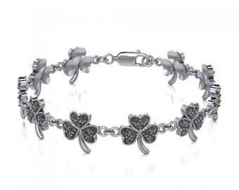 Shamrock Irish Bracelet, Clover Bracelet, Mother's Day Gift, Celtic Jewelry, Anniversary, Irish Gift, Nature Jewelry, Clover Bracelet