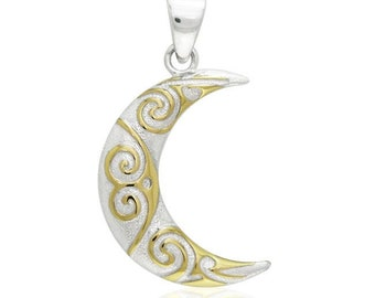 Moon Necklace, Celtic Jewelry, Wiccan Jewelry, Crescent Moon Pendant, Moon Goddess, Anniversary Gift, Graduation Gift, Celestial Jewelry