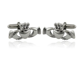 Claddagh Cuff Links, Irish Jewelry, Celtic Jewelry, Gift for Him, Father Gift, Groom Gift, Dad Gift, Graduation Gift, Brother Gift