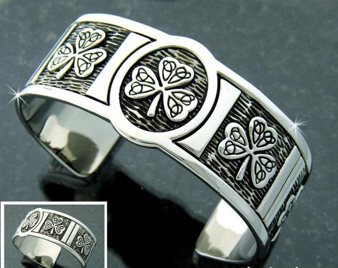 Shamrock Pewter Bracelet, Celtic Jewelry, Bangle Bracelet, Shamrock Jewelry, Ireland Jewelry, Wife Gift, Girlfriend Gift, Sister Gift
