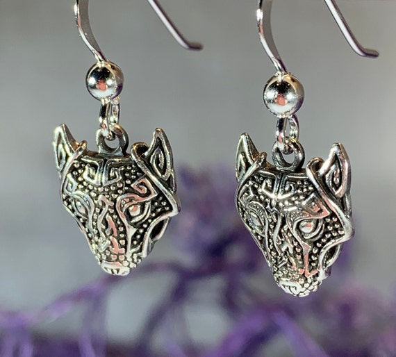 Wolf Earrings, Celtic Jewelry, Norse Jewelry, Pagan Jewelry, Viking Jewelry, Celtic Knot Earrings, Graduation Gift, Birthday, Wolf Jewelry