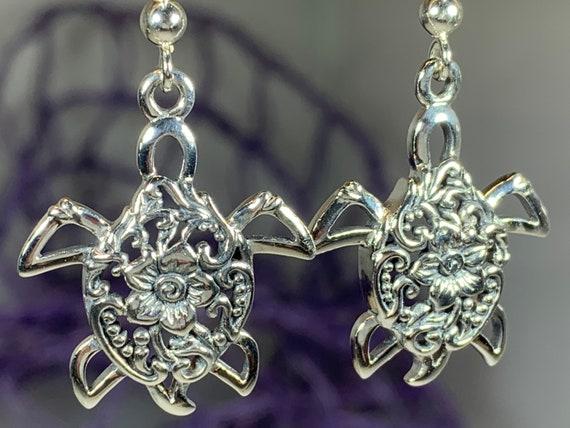 Turtle Power Earrings, Celtic Jewelry, Animal Jewelry, Beach Jewelry, Mom Gift, Nature Jewelry, Anniversary Gift, Graduation Gift, Nautical