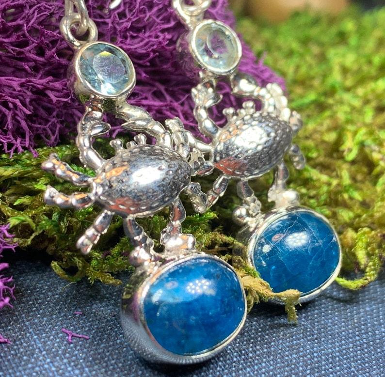 Crab Earrings Ocean Jewelry Nautical Jewelry Apatite Jewelry Anniversary Gift Celtic Jewelry Beach Jewelry Nature Jewelry